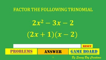 Factoring Trinomials # 2 Connect 4 Powerpoint Game