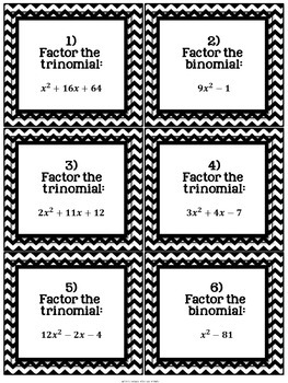 Factoring Polynomials: 30 Task Cards