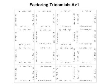 Factoring Trinomials A>1 OR Multiplying Binomials Fun Square Puzzle Activity