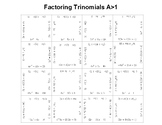 Factoring Trinomials A>1 OR Multiplying Binomials Fun Square Puzzle Activity