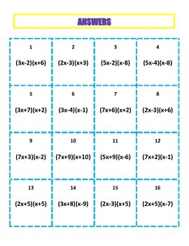 Factoring Trinomials Activity