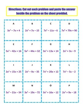 Factoring Trinomials Activity
