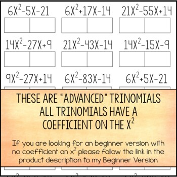 Factoring Trinomials Activity - Advanced