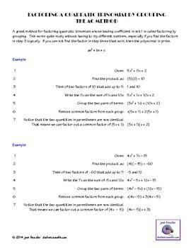 Algebra Factoring Quadratics - Best Resource Ever for Algebra