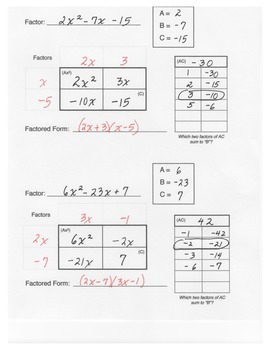 Factoring Trinomials Box Method Graphic Organizer