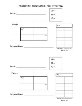 Factoring Trinomials Box Method Graphic Organizer