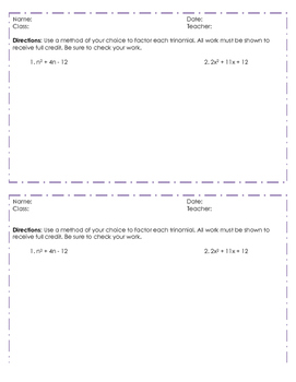Factoring Trinomials CFU/Exit Ticket
