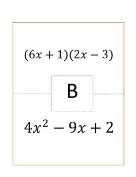 Factoring Trinomials Classroom Activity
