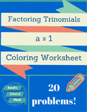 Factoring Trinomials Coloring Worksheet
