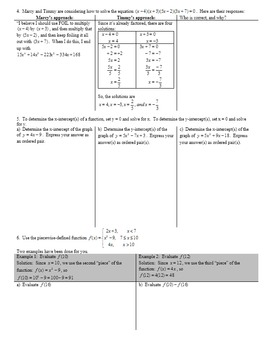 Factoring Trinomials Day 2 with Student Notes Page  Fall 2015 (Editable)