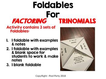 Factoring Trinomials Foldable (a=1)