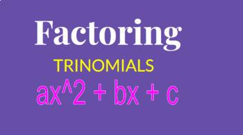Factoring Trinomials Google Classroom Activity