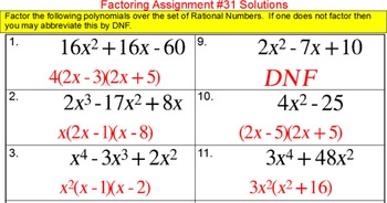 Factoring Trinomials Introduction & 54 assignments, 950+ problems for SMART