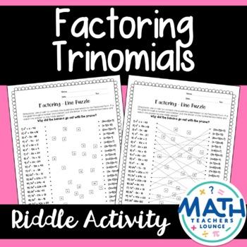 Factoring Trinomials: Line Puzzle Activity