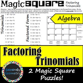 Factoring Trinomials Magic Square: 2 Puzzles Included; Algebra 1, Quadratics