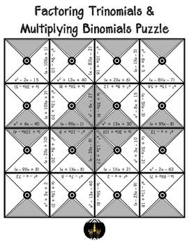 Factoring Trinomials & Multiplying Binomials Puzzle