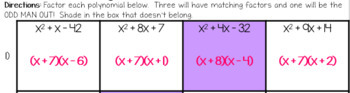 Factoring Trinomials Odd Man Out