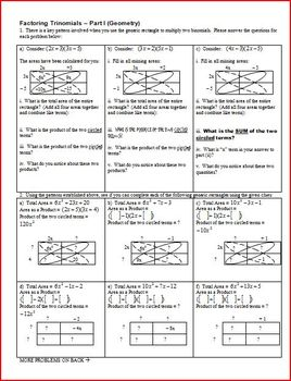 Factoring Trinomials: Part 1: Geometry 2011 (Editable)