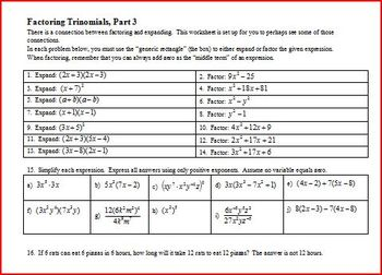 Factoring Trinomials: Part 3: for Algebra Students Spring 2012 (Editable)