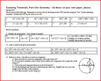 Factoring Trinomials: Part 4: Geometry 2012 (Editable)