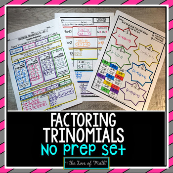 Factoring Trinomials Print and Go