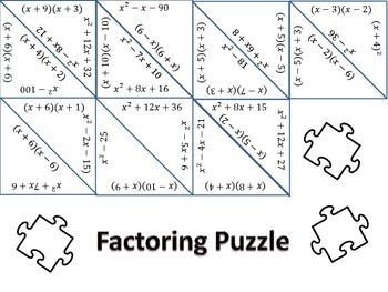 Factoring Trinomials Puzzle Worksheets & Teaching Resources