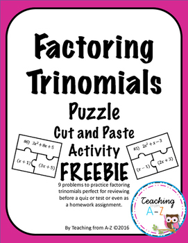 Factoring Trinomials Puzzle Activity FREEBIE