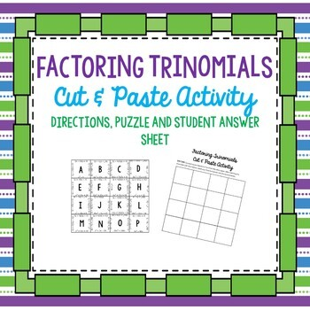 Factoring trinomials worksheet puzzle