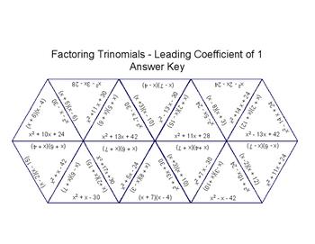 Factoring Trinomials Puzzle (Leading Coefficient of 1)