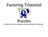 Factoring Trinomials Puzzles: A Hands-On Way to Learn Factoring