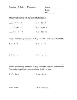 Factoring Trinomials Quiz Assessment