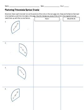 Factoring Trinomials Review Puzzle