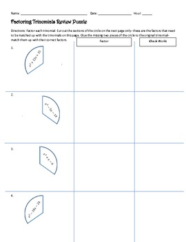 Factoring Trinomials Review Puzzle