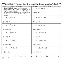 Factoring Trinomials Riddle (a>1)