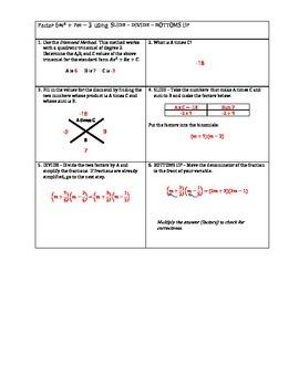 Factoring Trinomials Slide-Divide-Bottoms UP Scaffold Notes