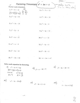 Factoring Trinomials, Solving by Factoring Tri, Factoring