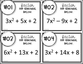 Factoring Trinomials (Task Cards)