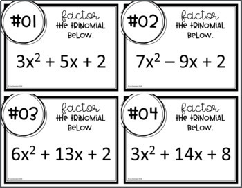 Factoring Trinomials (Task Cards)