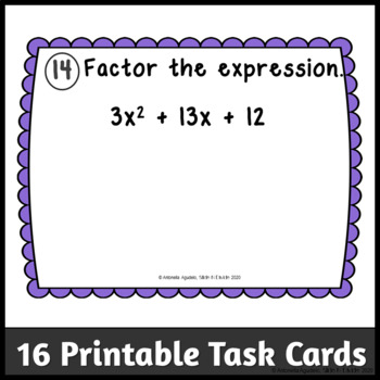 Factoring Trinomials Task Cards