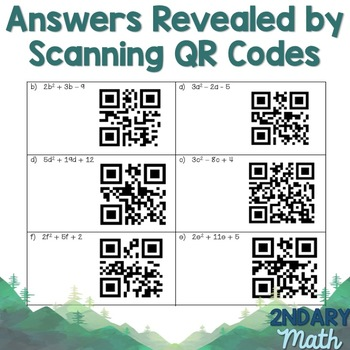 Factoring Trinomials Task Cards with QR Codes