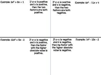 Factoring Trinomials Tricks Foldable