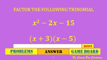 Factoring Trinomials Wheel of Knowledge Powerpoint Game
