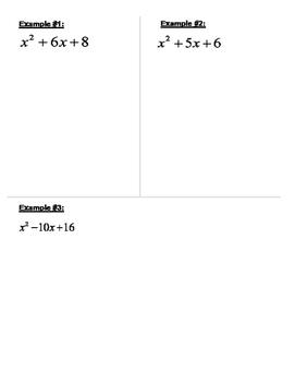 Factoring Trinomials (When a=1) Graphic Organizer