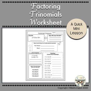 Factoring Trinomials Worksheet, a=1, Algebra, Homework, Ex
