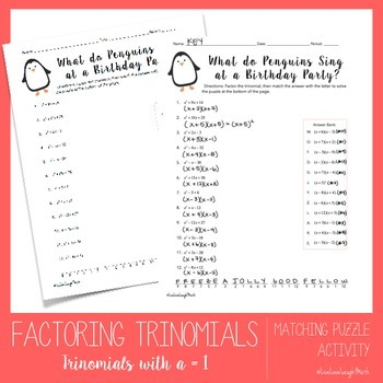 Factoring Trinomials Worksheet Teaching Resources Teachers Pay
