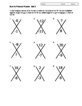 Factoring Trinomials X Box Pre-Factoring Activity