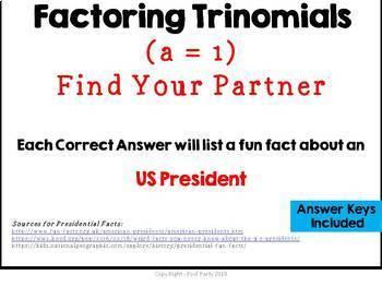 Presidential Fun Facts/Factoring Trinomials MASHUP Activity