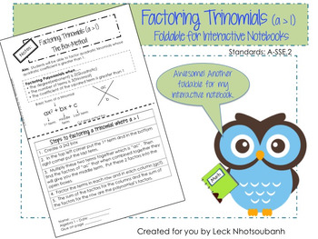 Factoring Trinomials (a > 1) Box Method Foldable for Interactive Notebooks