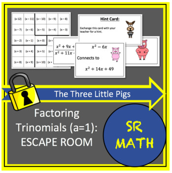 Factoring Trinomials (a=1) Escape Room: The Three Little Pigs