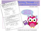 Factoring Trinomials (a = 1) Foldable for Interactive Notebooks